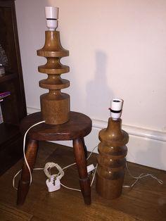 Vintage Pair 1960s Teak Table Lamp Bases, Retro, Modernist, Mid Century, Danish? in Home, Furniture & DIY, Lighting, Lamps | eBay