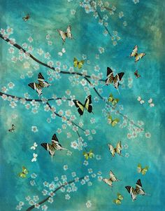 "Saatchi Online Artist Lily Greenwood; Mixed Media, ""Spring Butterflies"""