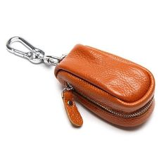 Metallic Key Chain Luxury Genuine Leather Double Ring Holder Men Car Key Gifts