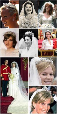 Wedding tiaras for the British Royal weddings.