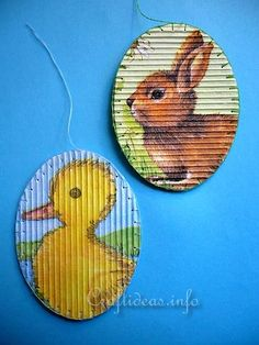 Corrugated Cardboard Easter Ornaments Paper napkins decorate corrugated oval shapes to make these cute Easter ornaments. This project is easy enough for school aged children to make as well.