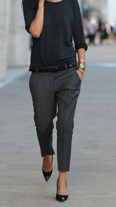 Tom Boyish...looks professional but comfortable. Love this look but need the flat stomach to pull it off!