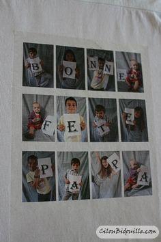 Photographier l'enfant avec les lettres, imprimer la photo-montage sur un papier photo ou bien sur un papier transfert. Il n'y aura plus qu'à repasser sur un T-shirt blanc! Très belle idée de cadeau, simple et originale.