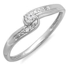 0.10 Carat (ctw) 10k White Gold Round Diamond Crossover Swirl Ladies 3 Stone Bridal Promise Engagement Ring 1/10 CT (Size 5.5)