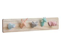 Perchero de pared Animales - multicolor