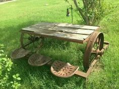 Old farm equipment turned into a picnic table