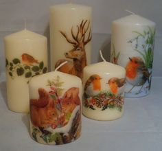 Woodland creatures candles for Christmas (To view more of my decoupage work:  www.facebook.com/YourLovelyHomeStephanieSinclair/  and in my Folksy shop on www.folksy.com/shops/YourLovelyHome)