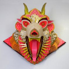 Find the latest shows, biography, and artworks for sale by AJ Fosik. AJ Fosik creates intricate, vividly colored three-dimensional pieces that reference folk… Totems, Ceramic Mask, Arte Tribal, Wood Animal, Animal Sculptures, Paper Sculptures, Wood Sculpture, Sculpture Garden, Sculpture Ideas