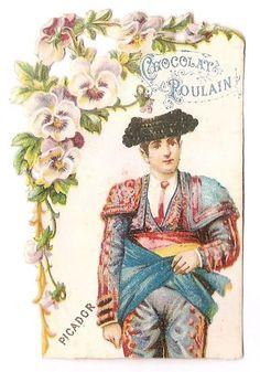 Picador - - Corrida Tauromachie  - Chromo Chocolat Poulain - Trade Card