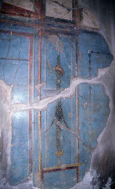 Detail of wall painting (Herculaneum, Bay of Naples, Italy). Ancient Pompeii, Pompeii Ruins, Pompeii And Herculaneum, Ancient Art, Ancient History, Rome Painting, Mural Painting, Fresco, Tempera