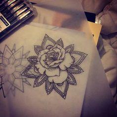 mandala rose tattoo for shoulder Girly Tattoos, Dream Tattoos, Future Tattoos, Flower Tattoos, Body Art Tattoos, New Tattoos, Tribal Tattoos, Tatoos, Temporary Tattoos