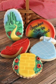 Somewhere Over the Rainbow cookie set by Clough'D 9 Cookies - ruby slipper, Emerald City, rainbow, yellow brick road, Dorothy's dress Cookies For Kids, Fancy Cookies, Iced Cookies, Cut Out Cookies, Cute Cookies, Royal Icing Cookies, Cupcake Cookies, Sugar Cookies, Cookies Et Biscuits