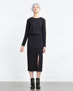 Image 1 of MIDI DRESS WITH SLIT from Zara
