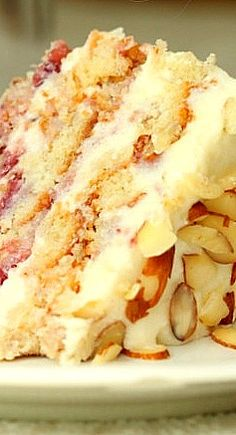 Strawberry Almond Layer Cake Recipe ~ to die for!