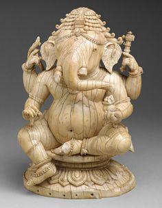 Seated Ganesha, 14th–15th century India, Orissa Ivory
