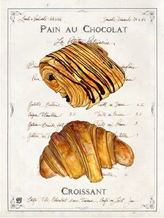 croissant and pain au chocolat illustration Eclairs, Food Illustrations, Illustration Art, Parisian Breakfast, Breakfast Time, Get Thin, Guacamole Recipe, French Pastries, Italian Pastries