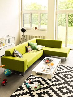 Micasa Sofa Living Room Sofa, Living Room Furniture, Living Room Decor, Bedroom Green, Green Rooms, Green Furniture, Furniture Decor, Contemporary Kitchen Design, Cozy Room