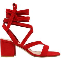 Gianvito Rossi Women 60mm Lace Up Suede Sandals (10.209.715 IDR) ❤ liked on Polyvore featuring shoes, sandals, red, leather sole shoes, block heel shoes, red mid heel sandals, red lace up shoes and block heel sandals