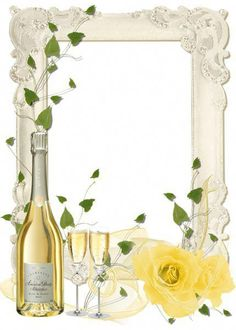 Delicate Transparent PNG Frame with Yellow Roses and Champagne. Best Photo Frames, Picture Frames, Wedding Bells Clip Art, Wine Glass Drawing, Wedding Borders, Champagne Party, Christmas Poster, Frame Clipart, Borders And Frames