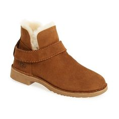 Women's Ugg 'Mckay' Water Resistant Bootie ($100) ❤ liked on Polyvore featuring shoes, boots, ankle booties, chestnut suede, lightweight boots, round toe booties, round toe boots, ankle strap boots and bootie boots
