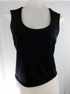 ANN TAYLOR Medium Black Sleeveless Crop V-Neck Stretch Shirt #AnnTaylor #Blouse #Career