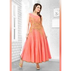 Peach Art Silk Readymade #Anarkali Suits With Dupatta-$75.86