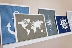 World map and compass print for the travel room.