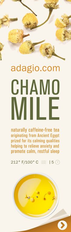 Our Chamomile tea is made of the finest chamomile flowers from the Nile River Valley in Egypt. Considered a remedy for all ills by the ancient Egyptians, this golden herb remains a modern favorite to promote calm and relieve anxiety. When steeped, these fragrant chamomile blossoms smell of freshly cut apples and produce a rich, golden cup with calming flavor and sweet, floral finish.