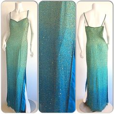 Sexy Vintage Ombre Blue & Green Beaded by brentedwardvintage