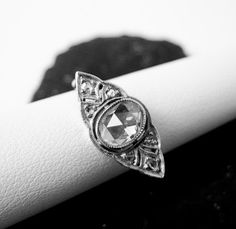 Antique Filigree Platinum & Rose Cut Diamond Ring 1905 Germany..