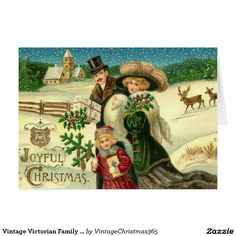 Vintage Victorian Family Christmas Greeting Card