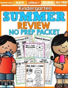Avoid the summer slide with this massive 110 page summer review packet for Kindergarten! This packet is filled with resources that will keep your students engaged this summer with some fun, hands-on learning.This packet requires absolutely NO PREP, no laminating or costly colored ink!