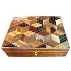 19th Century English Veneered In Tumbridge Pattern Box