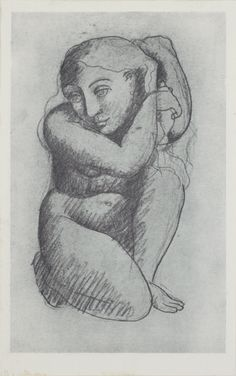 Pablo Picasso, 1906, Femme se coiffant (Woman Combing her Hair), crayon, charcoal on paper. Dimensions and whereabouts unknown