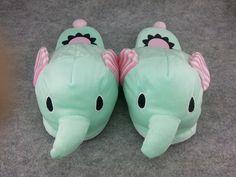 "Animal Elephant Cute Kawaii Cosplay Adult Women Plush Rave Shoes Slippers 10""-T1"