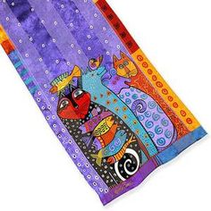 Laurel Burch 100/% Silk Oblong Scarf Lilac Purple Tall Feline Cats Silk Scarf New