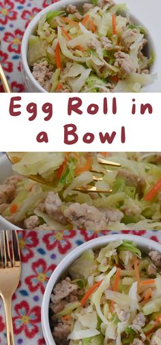 Easy Egg Roll In A Bowl. Easy Egg Roll In A Bowl recipe. Egg roll in a bowl. Egg roll in a bowl recipe. keto egg roll in a bowl. Weight watchers egg roll in a bowl. How to make egg roll in a bowl. Best Low Carb Egg Roll In A Bowl - Easy Classic Egg Roll taste served in a bowl without all the carbs! #eggroll #eggrollinabowl #inabowl #eggrollrecipe #lowcarbrecipe #lowcarbdiet #lowcarb #food #recipes Savoury Recipes, Veggie Recipes, Dinner Recipes, Healthy Recipes, One Pan Meal Prep, Easy Meal Prep, Asian Noodle Recipes, Easy Asian Recipes, Egg Roll Recipes
