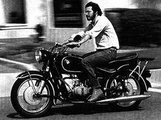 Steve Jobs on a BMW motorcycle