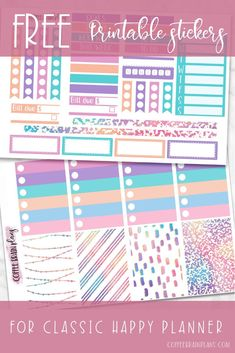 Free rainbow printable planner stickers for the classic Happy Planner by Coffee Brain Plans. For personal use only. Includes checklists, full boxes, ombre checklists, narrow washi strips, headers and blank headers and MORE! Goals Printable, Printable Planner Stickers, Free Printables, Planner Tips, Planner Supplies, Happy Planner, Free Stickers, Headers, Washi