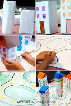 Create a city with roads and buildings using recycled milk cartons. Boys will love pushing their little cars around the city after they enjoyed this art project activity. Early Childhood Activities, Summer Classes, Paper Crafts, Diy Crafts, Milk Cartons, Fun Projects, Diy For Kids, Baby Toys, Preschool