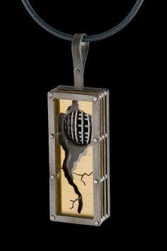 """Pendants by E. Douglas Wunder, Titanium, 18K Gold Bi-Metal With 16"""" Oxidized Silver Chain 1.75"""" x .50"""" x .25"""""""