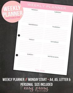 Weekly Planner Printable- Weekly Organizer // A4 Weekly Planner, Letter Size Weekly Planner, A5, Personal Size Weekly Planner
