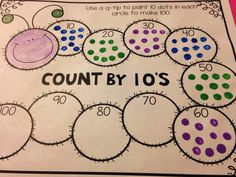 100th day of school - Count by 10's q-tip painting