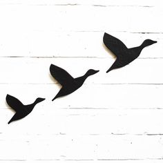 Ceramic Wall Art Three Flying Ducks Black Artwork Bathroom Living Room Kitchen Wall Art $75.00