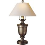 Chart House E.F. Chapman Medium Classical Urn Form Table Lamp in Sheffield Nickel with Natural Paper Shade by Visual Comfort & Co. CHA8172SN-NP