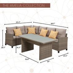 MOD Amelia 3-Piece Wicker Outdoor Sectional Set with Gray Cushions-AML3PC-GRY - The Home Depot Indoor Outdoor Furniture, Outdoor Fabric, Coffee Table To Dining Table, Mod Furniture, Grey Cushions, Modular Sofa, Outdoor Sectional, Backyard Ideas, Amelia