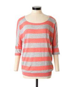3/4 dolman sleeve top with all over slub stripes #bootleggerjeans