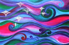 Matariki stars with Maori skyline.