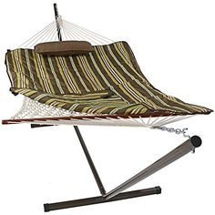 sunnydaze desert stripe cotton rope hammock with 12 foot     https     bo double desert moon 9 foot hammock with stand  desert moon      rh   pinterest
