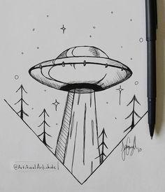 doodle art for beginners ; doodle art for beginners easy drawings Alien Drawings, Space Drawings, Tumblr Drawings, Cool Art Drawings, Pencil Art Drawings, Art Drawings Sketches, Doodle Drawings, Easy Drawings, Tattoo Drawings
